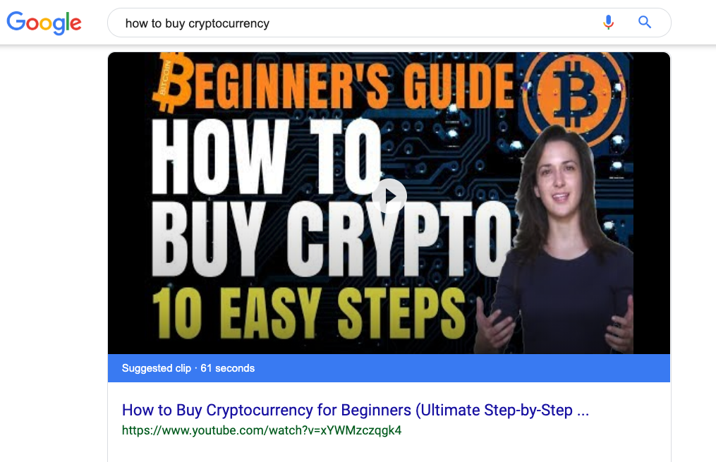 How to Buy Cryptocurrency Google Rank Screenshot