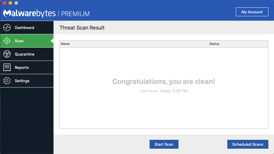 malwarebytes screen clean