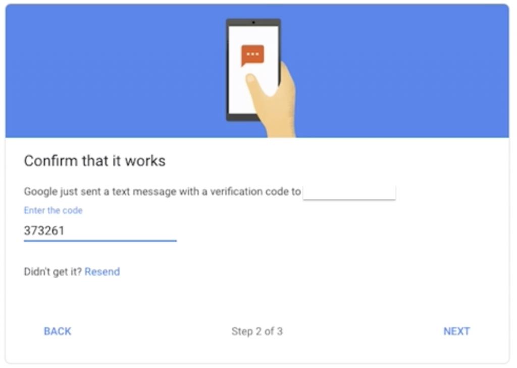 Enter Code Google Auth