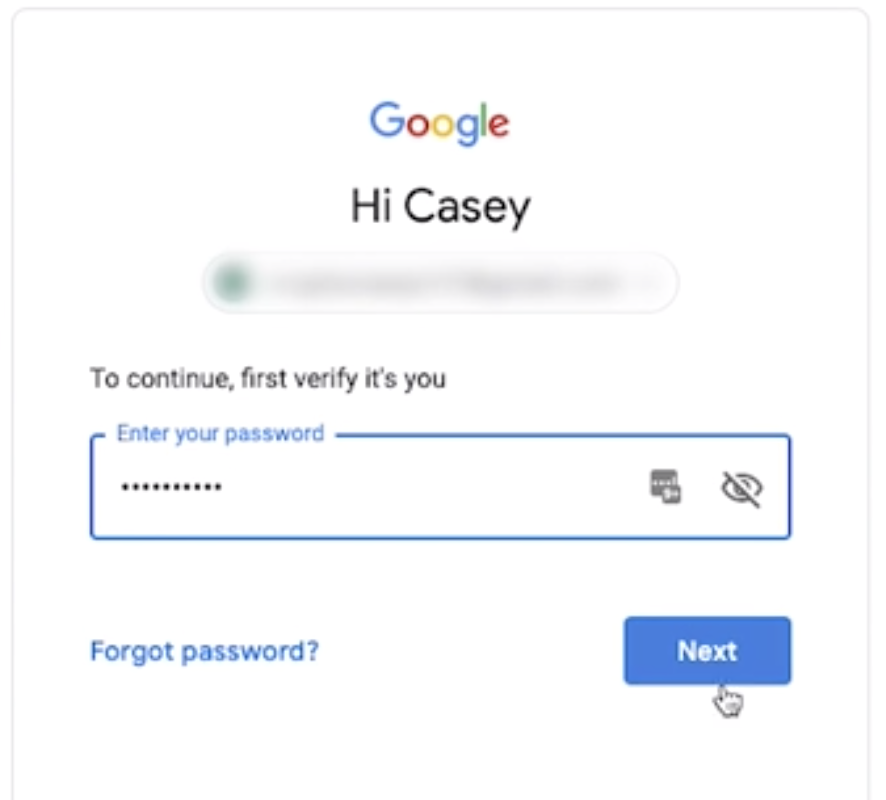 Google Enter Email